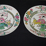 Pair of Chinese Porcelain Famille Rose Plates