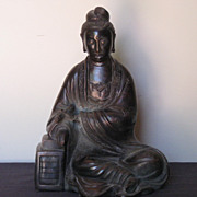 Elegant Japanese Seated Bronze Buddha