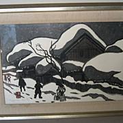"Woodblock Print ""Winter in Aizu by Kiyoshi Saito"