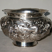 Beautiful Antique Chinese Silver Dragon Bowl