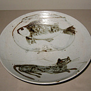 Japanese Studio Pottery Bowl with Cat & Fish