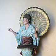 Antique Austrian Terra Cotta Chinoiserie Figure Holding a Card Tray
