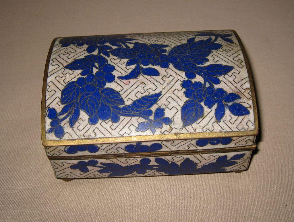 Antique Chinese Blue Cloisonné Box