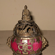 Small Vintage Chinese Pink Incense Burner