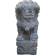 Pair of Chinese Carved Gray Marble Temple Lions