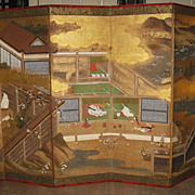 "Antique Japanese Six-Panel Screen ""Tales of Genji"""