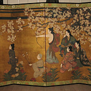 Antique Edo Period Japanese Four-Panel Screen
