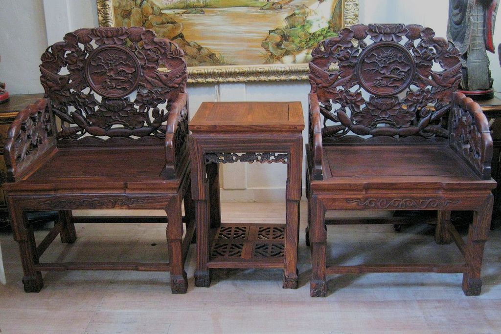 Asian Wood Arm Chairs ~ Chinese pair of carved wood arm chairs side table
