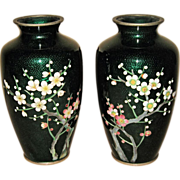 Pair of Japanese Cloisonné Green Enamel Vases