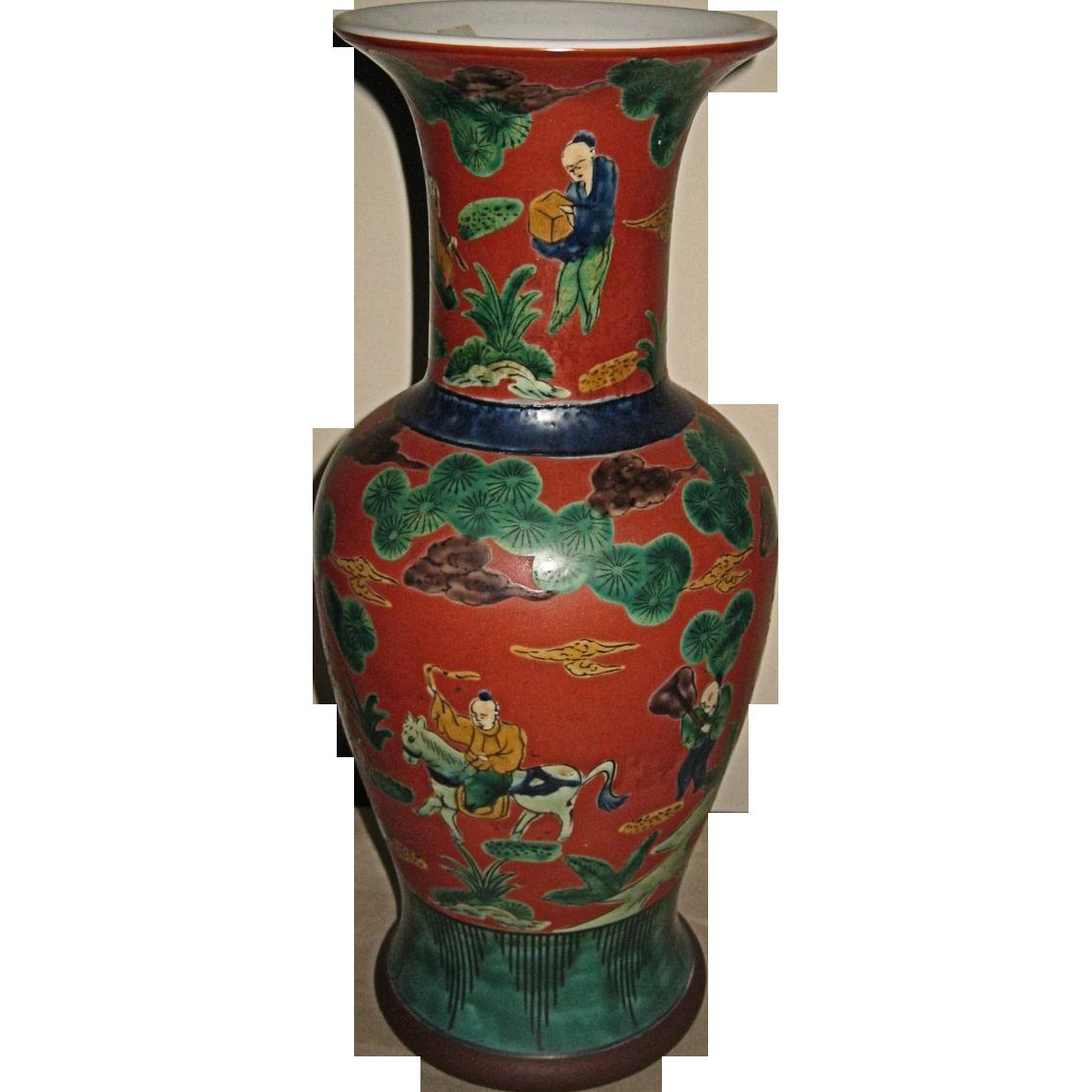 Antique Japanese Kutani Porcelain Vase From