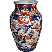 Japanese Antique Imari Porcelain Fluted Vase