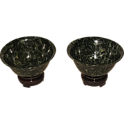 Pair of Beautiful Chinese Carved Spinach Jade Bowls