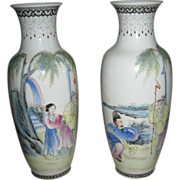 Pair of Antique Chinese Eggshell Porcelain Vases