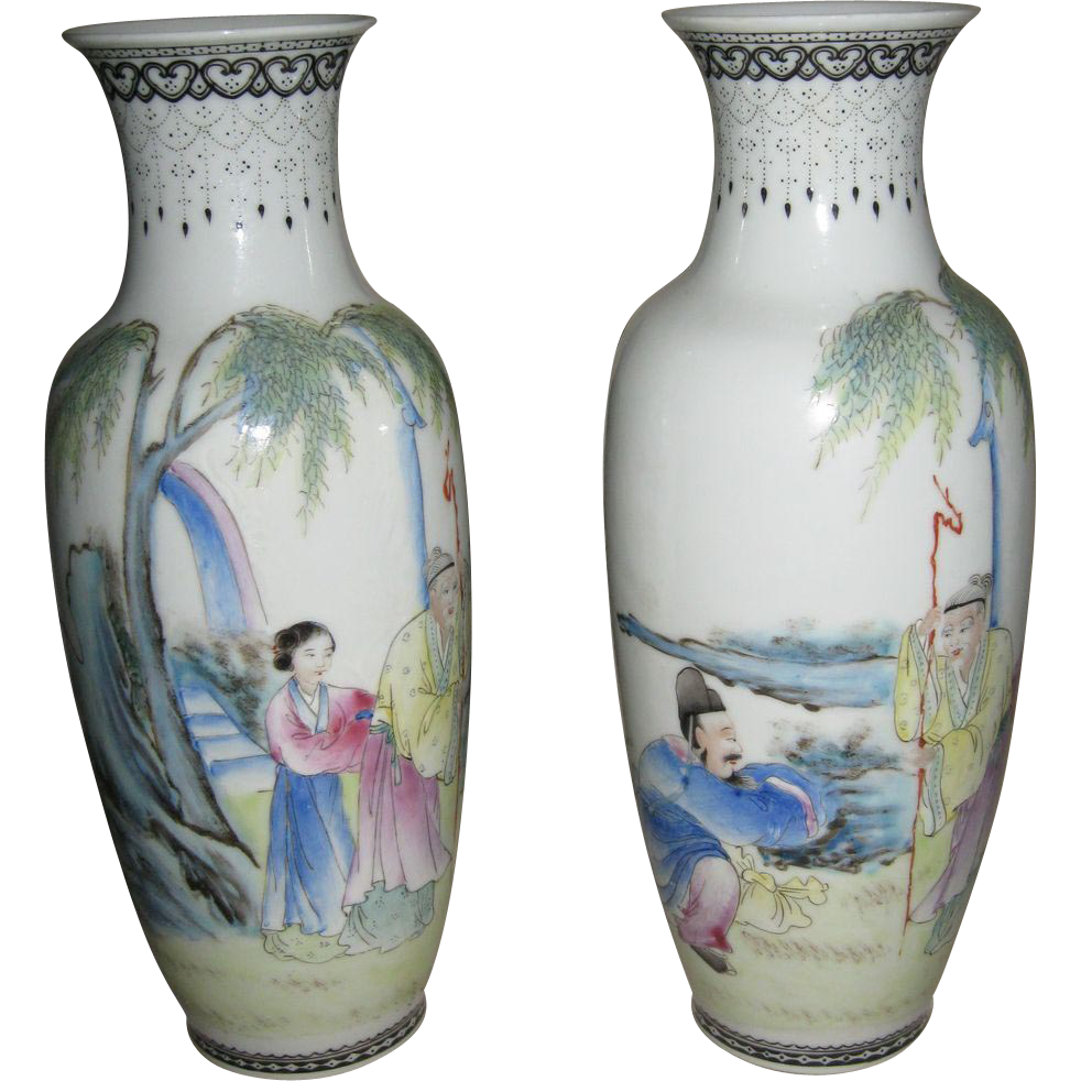 Pair Of Antique Chinese Eggshell Porcelain Vases From Dynastycollections On Ruby Lane