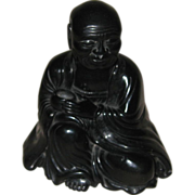 Chinese Carved Black Seal Stone Lohan