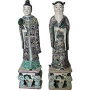 Pair of Chinese Porcelain Famille Verte Male and Female Figures