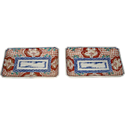 Pair of Antique Japanese Porcelain Imari Rectangular Dishes