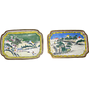 Pair of 19th C. Chinese Small Enamel Plates