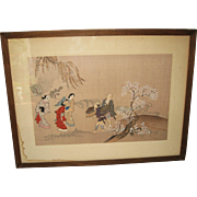 Japanese Woodblock Print of a Traveling Party