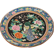 Japanese large Polychrome Peacock and Floral Charger