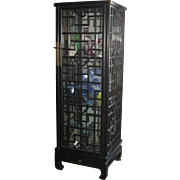 Pair of Chinese Black Lacquer Wood Curio Cabinets
