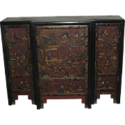Unusual Antique Chinese Red-Lacquered Stepped Three-Door Cabinet