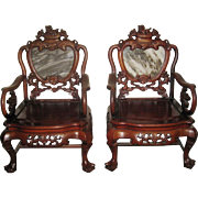 Pair of Old Chinese Rosewood Dali Marble Inset Chairs