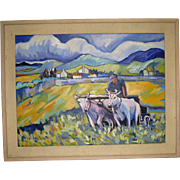 Acrylic on Canvas a Man with  White Oxen by Jill Logan