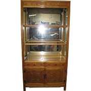 Pair of Elmwood Display Cabinet with Glass Shelves,