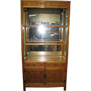 Pair of Elmwood Display Cabinet with Glass Shelves