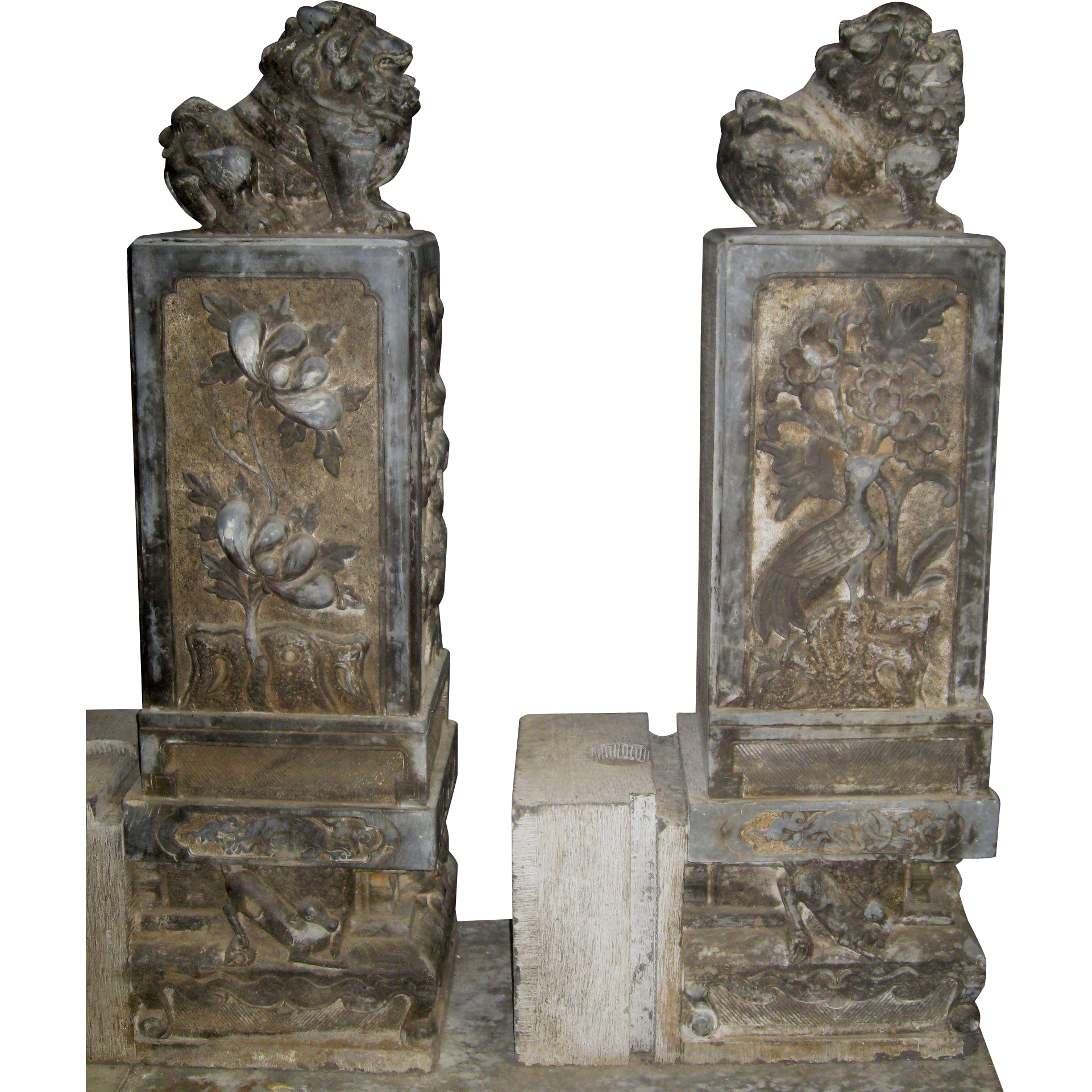 Chinese carved stone door posts with temple lions from