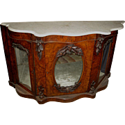 Early Victorian Walnut  Burl Wood with Marble Top