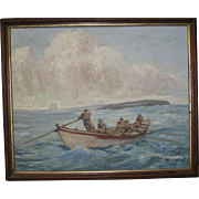 Oil painting of a Whaling Scene by B. Russell