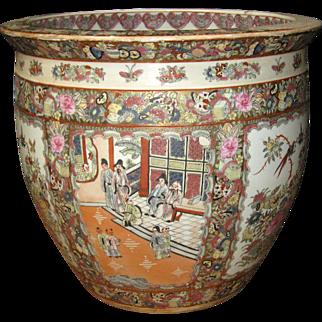 Chinese Rose  Medallion Porcelain Fish Bowl
