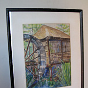 "Watercolor of a ""Thatched Hut & Waterwheel"""