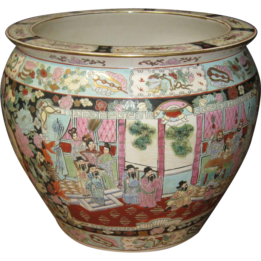 Vintage chinese porcelain fish bowl with ming figures from for Chinese fish bowl