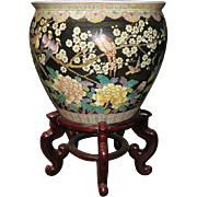 Chinese Porcelain Famille Noir Fish Bowl with Phoenix and Floral Motif