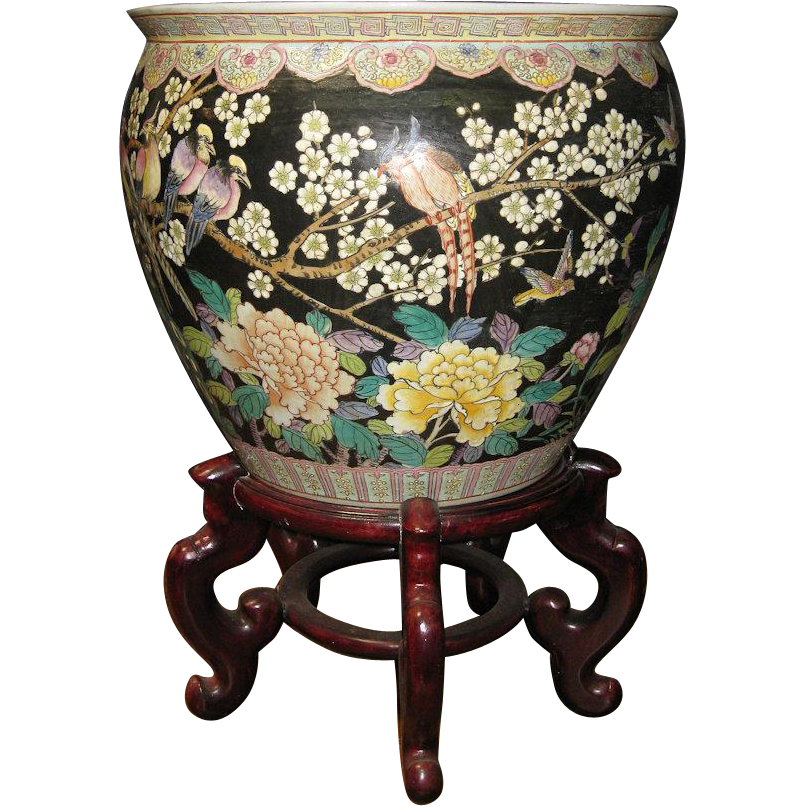 Chinese Porcelain Famille Noir Fish Bowl With Phoenix And Floral Motif From Dynastycollections