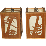 Pair of Japanese Bamboo Hanging Lanterns with Bamboo Motif