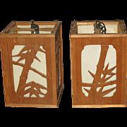 Pair of Japanese Bamboo Hanging Lanterns with Bamboo Motif