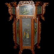 Large Elaborate Chinese Hexagonal  Hanging Lantern with Painted Side Panels