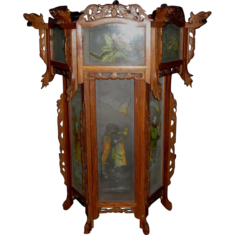 Large Elaborate Chinese Hexagonal  Hanging Lantern with Painted Side Panels