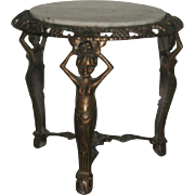 Art Deco Metal Side Table with White Marble Inset Top with Female Goddess as Supports