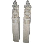 Chinese Carved Stone Hitching Posts with Male Figures on Temple Lions