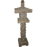 Chinese Carved Grayish-Brown  Sone Pagoda Post with Four Monkeys