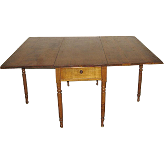 Antique American Tiger Maple Drop Leaf with Drawer