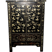 Large Chinese Black Lacquered Cabinet Decorated with Butterflies