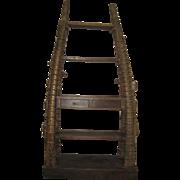 Antique Massive Wood and Metal Battle Cart Bookcase