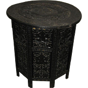 Anglo Indian Finely Carved Dark Wood Circular Table with Hexagonal Side