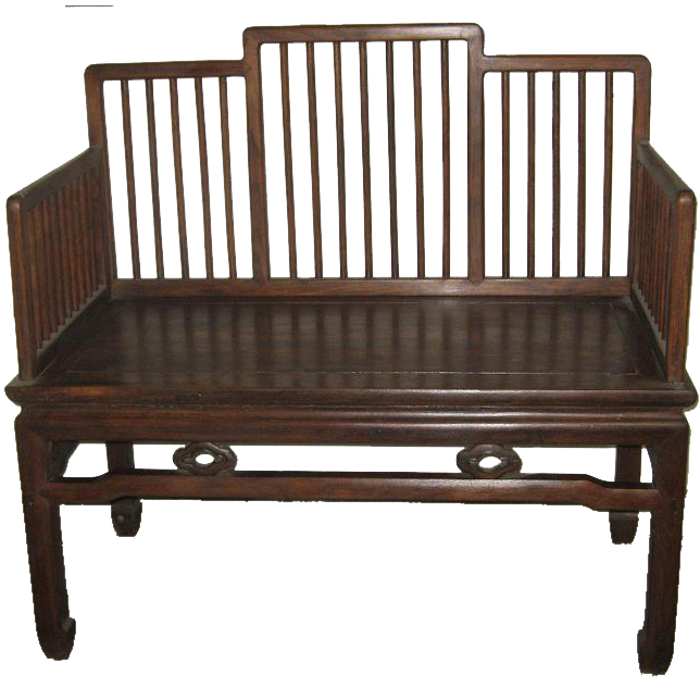 Chinese Wood Bench With A Stepped Spindle Back From Dynastycollections On Ruby Lane